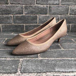 Taryn Rose Glitter Kitten Heels 8.5 Champagne Gold